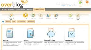 L'interface d'Overblog