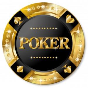 Un jeton de poker en or