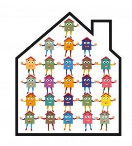Une maison remplie de petits personnages se tenant la main