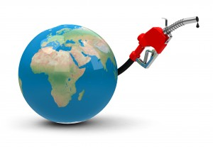 Une pompe à essence branchée sur la planète