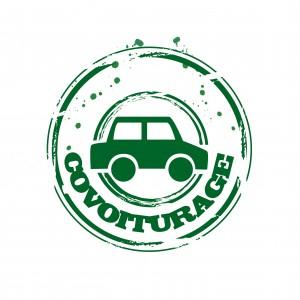 Un tampon vert représentant une voiture sous-titrée covoiturage