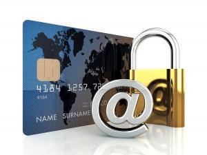 Une carte de crédit, un arobase et un cadenas